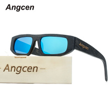 Angcen 2017 Men's Brand Designer Polarized Glasses Men and Woman Bamboo Sunglasses with UV400 Protection wood Frame Eyewear(China)