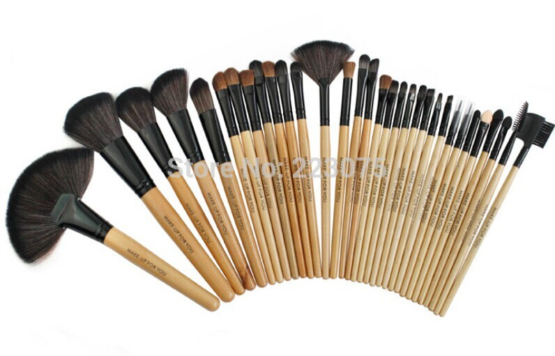 Pro Makeup 32PCS animal hair Foundation Brush Eyeshadow Cosmetic Makeup Brushes Set w Case as Xmas gift New<br>