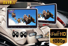 1080p Full HD 2x10.1 inch Touch Button HDMI Input Headrest Car DVD Player with SONY OR HITACHI Laser Lens, 2 IR headphones(China)