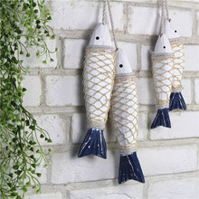Mediterranean Style Wall Decoration Art Craft Home Decoration Ornament Wooden Carving Fish Shape Retro Wall Hanging 2fish/lot(China)