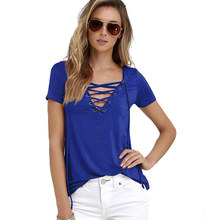 2017 Summer European Fashion Lace Up T Shirt Women Sexy V Neck Hollow Out Top Casual Basic Female T-shirt Plus Size