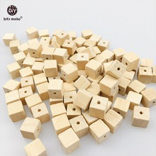 Let's Make 100PCS 10mm Wooden Cube Unfinished Faceted Wood Spacer Beads Charm Finding Square Cubic Beads DIY Accessory