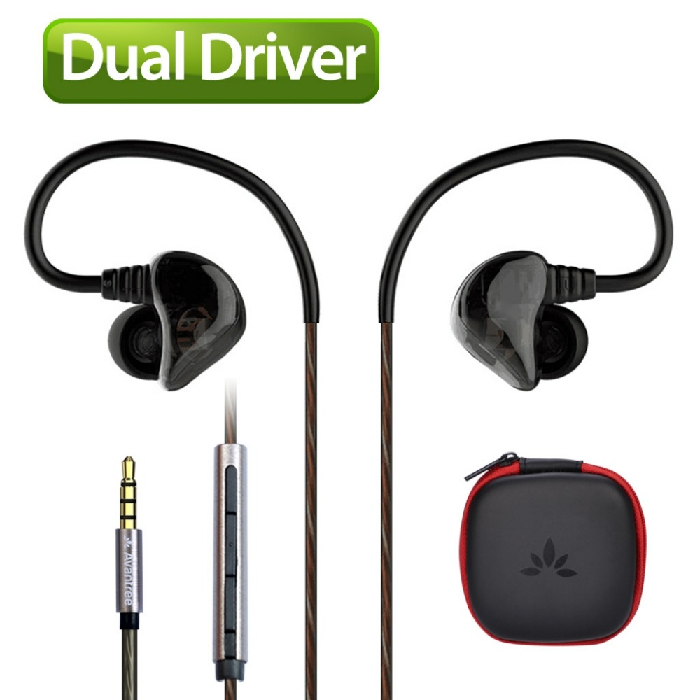 Avantree DUAL DRIVER High Definition In Ear Earphone Heavy Bass Sports Earbud Noise isolating headphone with Mic Music Track-D18(China (Mainland))