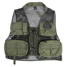 Summer Breathable Quick-Dry Mesh Outdoor Fishing Vest Jacket For Men Super Light Multi-Pocket Fly Vest Army Green