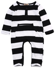 Lovely Infants Baby Girls Boys Clothes Long Sleeve Rompers White Black Striped Bebes Clothes Outfits 0-3Y