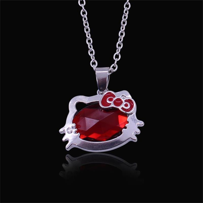 New Style Girls Drop Jewelry Fashion Crystal Hello Kitty Pendant Necklaces For Women Jewelry Wholesale Free Shipping(China (Mainland))