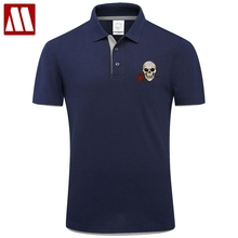 2017 Fashion Brand Clothing Summer Skull Polo Shirt New Style Rose Embroidery Casual Contton Short Sleeve Big size Polos Shirts(China)