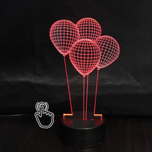 3D LED Hologram Illusion Night Lamp Balloon Night Lights Seven Colors Changeable Desk Acrylic Discoloration Touch Lamp
