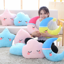 Lovely Sky Series Pillow Stuffed Moon, Star and Clouds Plush Toys Soft Cushion Nice Sofa Pillow Kawaii Christmas Gift for Girl(China)