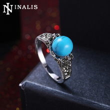 INALIS Brand High Quality Blue Turquoises Stone Ball Ring White Gold Color Vintage Wedding Band Rings for Women Bridal Jewelry