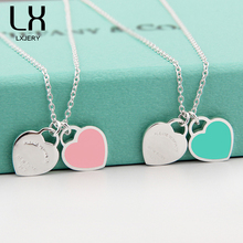 Fashion Two Love Blue Heart Pendant Necklaces Gold-Color Stainless Steel Necklaces Simple Pendant Women Necklace Girl Gift XL012