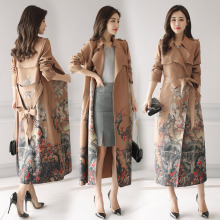 2017 Autumn Women's High End Long Printing Lace-up Ankle Length Casual suede Trench Coats(China)