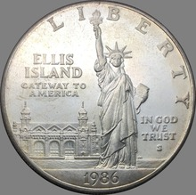 United States 1986 Statue of Liberty  Brass Plated Silver Dollar