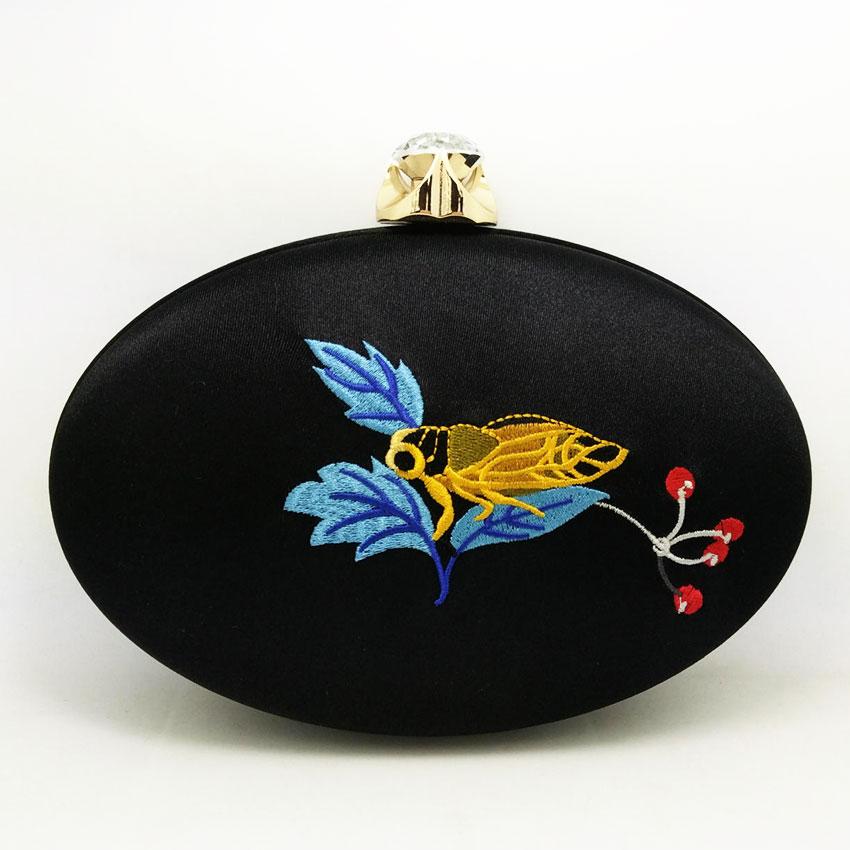 Women Satin Silk Cheonggyecheon Renaissance Embroidery Party Bridal Shoulder Handbag Purse Metal Evening Clutch Bag<br>
