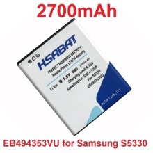 HSABAT 2700mAh EB494353VU Battery for Samsung i5510/S5070/S5330/S5570 Galaxy Mini/S5750E/S7230E/i559 etc Mobile Phones(China)