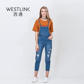 Westlink 2017 Printemps Nouveau Ripped Jeans Lavé Blanchis Mince Droite Denim Femmes Pantalon Bleu Clair