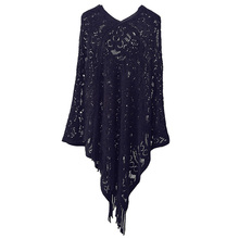 Sexy Women Vintage Poncho Warm Knitted Shawls Wrap Cape Pullover Streetwear Tops Autumn Winter Pullover Knitting Tassel Pashmina(China)