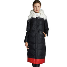 90% white duck down thicker hooded down &parkas jacket 2017 winter women's printing long parkas coat manufacturers outlet w987(China)