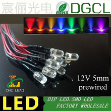 20pcs/lots 12V Pre wired 5mm Bright LEDs Bulb Warm white/Red/Green/Blue/Yellow/White/Pink 20cm Prewired LED Lamp LED LIGHTING(China)