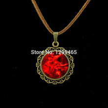 Leisure series essential red Cloud perfume Leather Necklace Galaxy moon surface pendant universe space jewelry  L 151