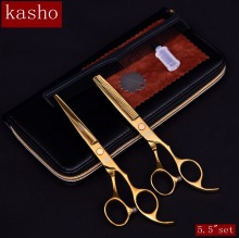 "kasho 5.5""set professional hairdresser's scissors hairdressing scissors hair cutting scissors barber thinning shears hair cut(China)"