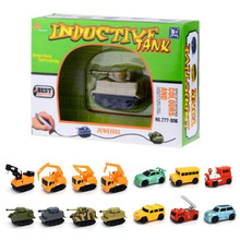 Original Inductive Car Diecast Vehicle Magic Pen Toy Tank Truck Excavator Construt Follow Any Line You Draw Xmas Gifts for Kid(China)