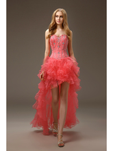2016 Real Images Coral Short High Low Prom Gowns Strapless Beaded Ruffles Organza Juniors Cocktail Dresses Informal Party Dress