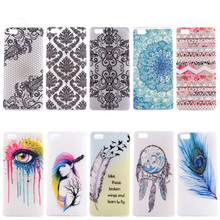 Mobile Case For Huawei P8 P8 Lite Cover Silicone Lace Flower Feather Eye Back Shell Capinha Etui For Huawei P8Lite Phone Coque