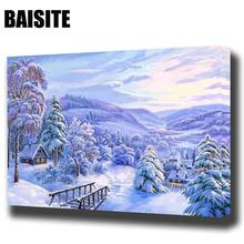 BAISITE DIY Framed Oil Painting By Numbers Landscape Pictures Canvas Painting For Living Room Wall Art Home Decor E849(China)