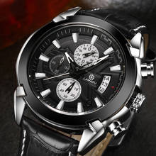 LIANDU Original Brand Watches Mens 24 Hours Chronograph Multifunction Quartz Watch Military Sport Waterproof Leather Wristwatch