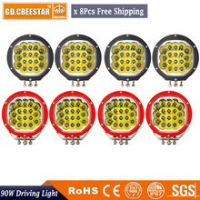 7inch 90W 8PCS Round LED Driving Light Spot Beam for Off Road Wrangler JK TJ Cherokee XJ GMC Raptor F-150 F-250 F-350 F-650