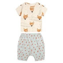 Lovely Kids Boys Casual Cotton Tshirts + Shorts Fox Print Clothes Summer Brand Sport Suits Toddler Kids Clothing 2PCS /Sets