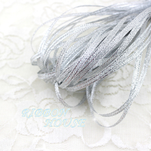 (20 meters/lot) 1/8'' (3mm) silver polyester organza ribbons Christmas packaging ribbon high-grade quality squares ribbons