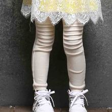 Retail 3T to 7T children girls spring fall blue beige yellow pleated leggings kids princess cotton legging(China)