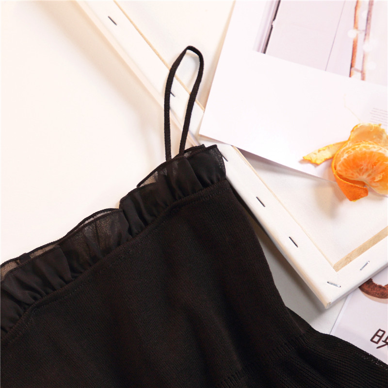 Women Fashion Knitting Patchwork Chiffon Ruffles Neck Cropped Tanks Tops Girls Knitted Tee shirts Camis crop Tops Female 27