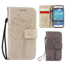 3D Tree PU Leather Wallet Flip Cases For Samsung Galaxy S4 S4 Mini Case Mobile Phone Shell to Protect Casing For Samsung S4 Mini(China)