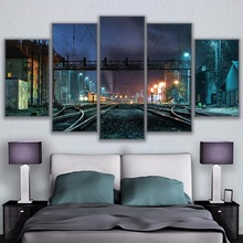 Modern Home Wall Art Decor Frame Modular Pictures 5 Pieces Night View Train Station Buildings HD Printed Poster For Living Room(China)