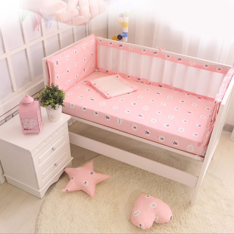6pcs Breathable mesh cartoon baby bedding set  baby cot sets kit bed around Protector Crib Bumpers Cotton Baby Bed Bumper Liner<br><br>Aliexpress