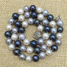 white grey(gray) peacock mix color perfectly round natural freshwater ball pearls Classic necklace choker Priness Matinee
