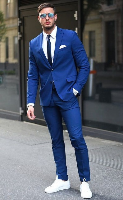 Bespoke Two Buttons Royal Blue Men Suits 2017 Fashion Design Business Men Tuxedo Skinny Style Men's Prom Suits(Jacket+Pants+Tie)
