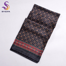 [BYSIFA] Winter Black Plaid Men Silk Scarf 2016 New Spring Autumn 100% Pure Silk Male Long Scarves Neck Warmer Scarf 160*26cm(China)