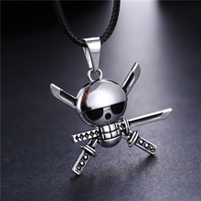 Anime One Piece Zoro Skeleton Skull Metal Necklace Silver Pendants Choker Collar Skeleton Men Gift Jewelry Accessories Kolye(China)