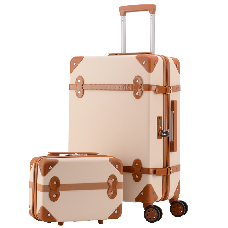 Maleta de viaje retro color rosada