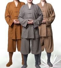 3color unisex linen&cotton famous Buddhist shaolin Monk suits martial arts clothing lay meditation uniforms gray/khaki/yellow