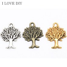 50pcs Antique Silver/Gold/Bronze Life of Tree Charms Pendant  For DIY Jewelry Making