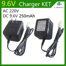 9.6V 250 mAh 2Pin Charger For NiCd & NiMH battery pack charger For toy RC car AC 220V DC 9.6v 250ma KET 2P Plug free shipping