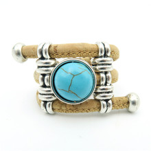 Natural Cork round turquoise ceramic stone ring Antique Sliver vintage women Ring original adjustable  wooden jewelry R-039