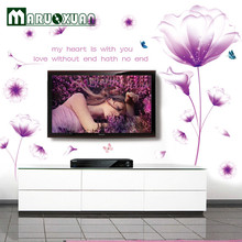 New Listing PVC 60*90cm Purple Flowers Bedroom Wall Sticker Home Decoration Wall Art Decals Sticker On The Wall