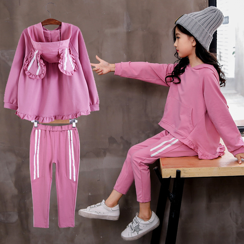 fashion rabbit Bunny ears hooded Sweatershirt+pants stripe style 2019 kid girls outfits children clothes toddler girl tracksuit