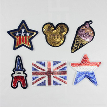 8pcs Sequin parches Patches For Clothing Embroidered Mickey Hello Kitty Patch Mix Dress Jacket Decor Accessories Appliques Badge
